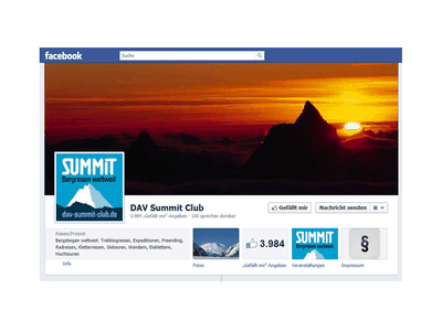 Screenshot von dav-summit-club.de auf facebook